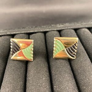 Vintage green black gold cuff links
